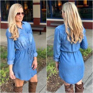 Denim long sleeve dress